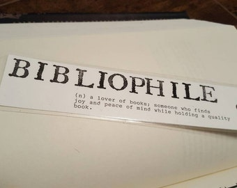Typed bibliophile bookmark