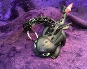 Custom Toothless How to Train Your Dragon chainmaille keychain
