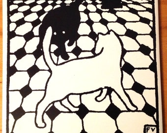 Vintage Felix Vallotton ceramic 2 cats tile trivet wall hanging black and white