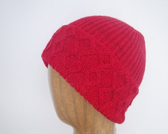 Red Cable Hat, Hand Knit, Watch Cap, Yak Merino, Fold Up Brim, Men & Women, Stretchy Beanie