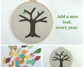 "Cotton anniversary gift - add a new leaf each year of marriage. Applique tree in 8"" wooden hoop frame"