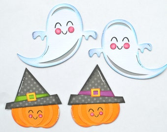CraftECafe Ghost Pumpkins Paper Piecing Halloween Premade Scrapbook Page