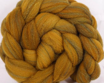 Hand dyed British Southdown/ tussah top ( 65/ 35) - Old Gold - 4.8 oz.