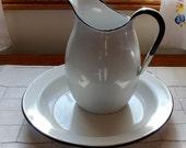 Vintage Enamel Pitcher Bowl White Black Jug Enamelware Large Set Plate Ewer