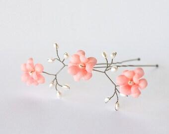 82_Coral flowers, Hair flowers pin, Bridal hair pin, Bright pink flowers, Coral wedding hair accessories, Flowers hair pin, Wedding flower.