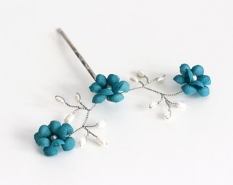 82_Ocean blue bobby pin,Turquoise flower hair pins,Beach wedding,Pearls hair accessory,Pearls pins,Bridal flower hair pins,Wedding hair pins