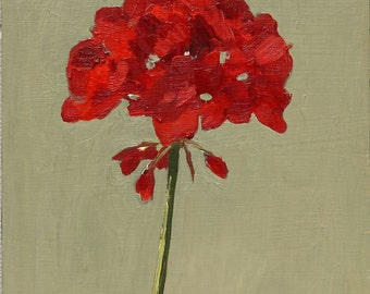 Simple Red Geranium Flower, Still Life Oil Painting Original art on wood panel 8x8 inch wall art