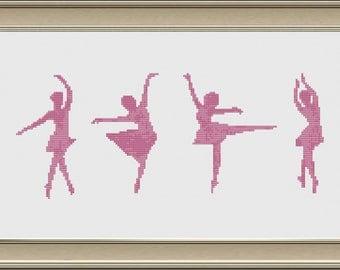 Four Ballet Dancers Cross Stitch Pattern, PDF, Instant Download
