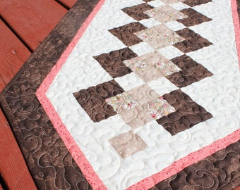 TableRunner- Dark Chocolate with Light Pink- Handmade quilt