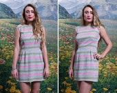 60s PASTEL Sleeveless MOD Spring Babydoll Formal Mini DRESS (small)
