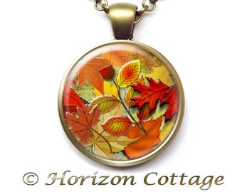 Fall Necklace, Falling Leaves to Wear, Jewelry for Fall, Autumn Leaves Pendant, Fall Colors, Fall Accessories, Your Choice of Finish