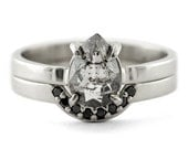 Clear & Speckled Diamond Engagement Ring