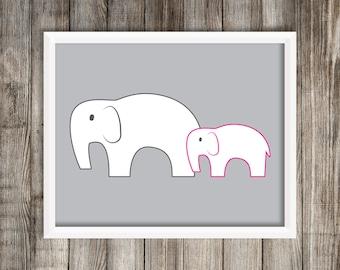 Modern Pink Elephant Art Print.  Elephant 8X10 Art Print ~ Digital Download.  Home Decor.