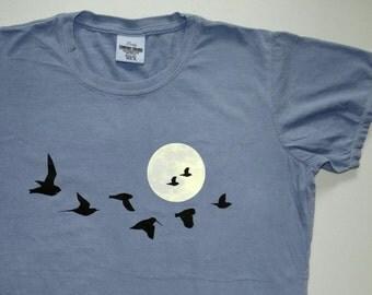 Ladies Birding tee shirt Original BIRD NIRD design of migrating birds across a full moon, Warblers, Owl, Thrush, Cuckoo, Grosbeak, migration