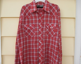 Vintage Red Plaid Snap Up Mens Shirt Country Shirt Western Shirt Medium