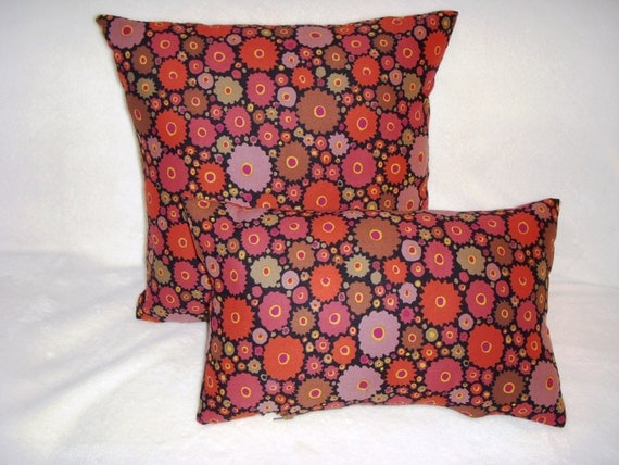 Gear Wheels Pillow Cover Circles Discs Russet Orange Purple Sage Black Modern Abstract Decor Zipper Closure Same Fabric On Both Sides