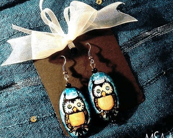 Handmade wooden owl earrings, turquoise,blue,crystal eyes