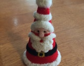 Handsome Needle Felted Santa Cone Christmas Ornament