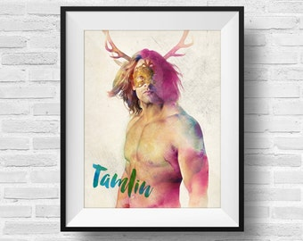 ACOMAF Tamlin Pop Art 8 x 10 Watercolor Print - A Court of Mist and Fury Inspired ACOTAR Tam Book Nerd Fandom Fan