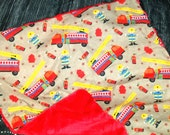 Baby Boy Minky Security Blanket - Fireman with Minky Lovey Personalized Ready to Ship
