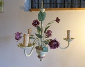 Toleware 3 Arm Chandelier Light Ceiling Suspension French Shabby Chic Vintage Roses and Turned Wooden Base