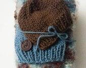 Mini blanket,  newborn blanket,  chunky baby blanket,  prop blanket, baby boy hat, newborn hat,  gift set, photo prop set, basket stuffer