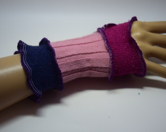 Upcycled Mini Wrist-warmers, Up-cycled, OOAK, Festival Gear. UK Seller, Ships Worldwide.