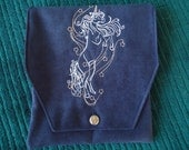 Unicorn Embroidered Belt Pouch / Fair Pouch / Fantasy Art