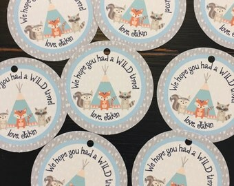 WILD AND THREE Theme Party Happy Birthday Baby Shower Favor Tags or Stickers 12 {One Dozen} - Party Packs Available