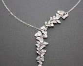 BlackFridaySale 191- Sterling silver Cascading flower garland necklace
