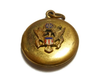 1940's military sweetheart locket, gold filled round, double picture pendant, eagle stars flag military insignia in center - World War II