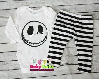 Baby boy Halloween costume, boy leggings, jack the skellington Long or short sleeve , Photo prop