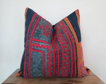 Vintage Batik Hmong Pillow Cover-Vintage hemp ,Textile, Natural Indigo Batik, Tribal, Indigo- Hmong Accent Pillow - Tribal Decor