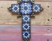 Metal Mexican Cross blue Talavera tile with geometrical designs with metal crafted frame religious item hand made by artisan