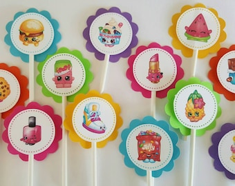 Shopkins cupcake toppers, party decoration
