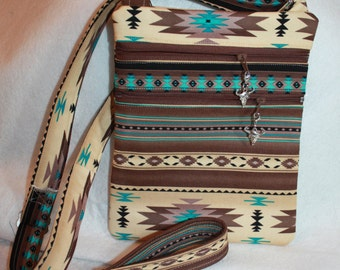 Handcrafted Southwest - Native American Fabric Crossbody bag       FREE SHIPPING