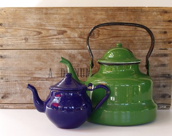 French Enamel Vintage Kettle and Teapot...TWO items....bargain!