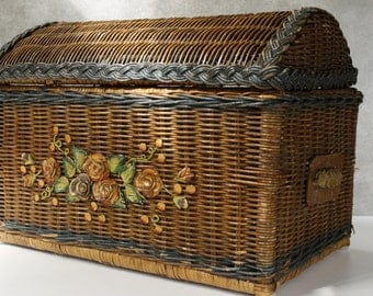 French Vintage Folk Art Basket Trunk...Rustic...Country Cottage...Shabby Chic.