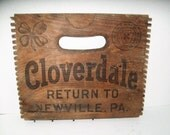 RESERVED Vintage Crate Sign Wood Advertising Sign Cloverdale Soda 1950's