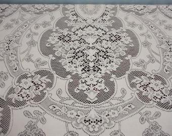 """Vintage Quaker Lace Ivory Tablecloth Floral Design #5180 - 50"""" x 60"""""""