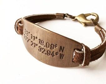 GPS Latitude Longitude Bracelet. Valentine Gift for Him