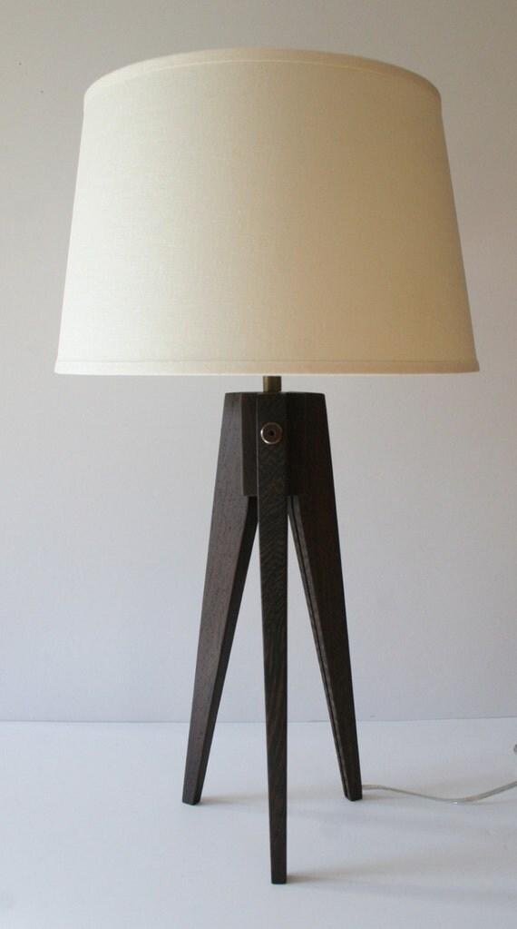 Table lamp tripod slim african wenge bokonge - Table wenge verre ...