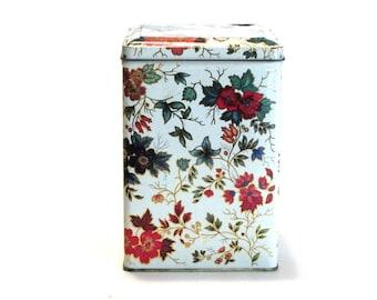 Daher Decorative Chinoiserie Flowered Storage Tin Hinged Lid Stash Trinket Box Cottage Decor