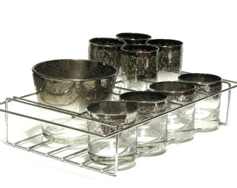 Royal Luster Silver Ombre Madeira Glassware Party Set Textured Silvertone Ice Tub Glasses and Chrome Caddy