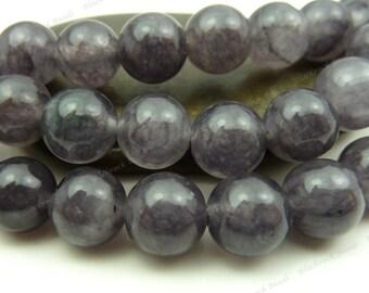 8mm Dark Gray Jade Round Gemstone Beads - 15.5 Inch Strand - BG4