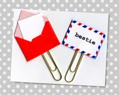 Planner Clip (Sold Individually) - Bestie Planner Clip - Gift Tag - Pocket Letter Clip - Tiny Envelope - Snail Mail Paperclip - Best Friend