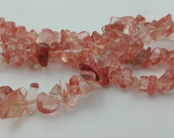 "250 Beads - 1 Strand 34"" 5-8mm Rose Quartz Chip Beads Stone Bead BD0194"