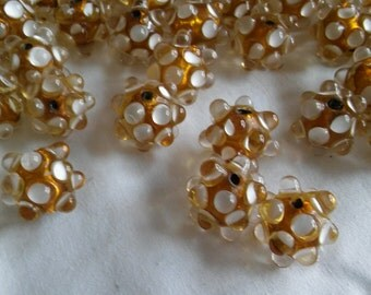39 Vintage Lampwork Amber Glass Beads with White Raised Dots