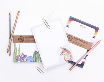 Two Notepads - Fox, Serape, Cactus Notes Paper Pads