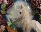 "Ooak unicorn wall hanging sculpture ""feary touch"""